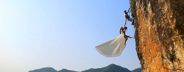 Brides, grooms say 'I do' to death-defying poses