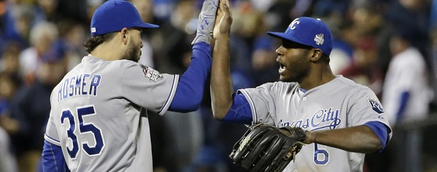 Kansas City's Lorenzo Cain and Eric Hosmer celebrate after Game 4 of the World Series. (David J. Phillip/AP)