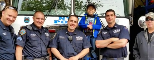 Boy wants to personally thank all 34K NYC cops (NBC)