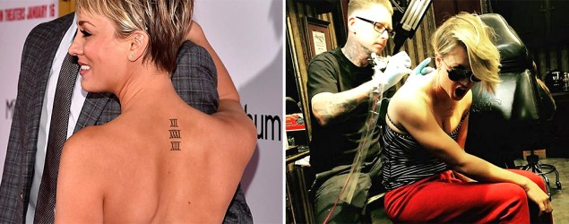 Kaley Cuoco covers up her wedding tattoo. (Getty Images, Instagram)