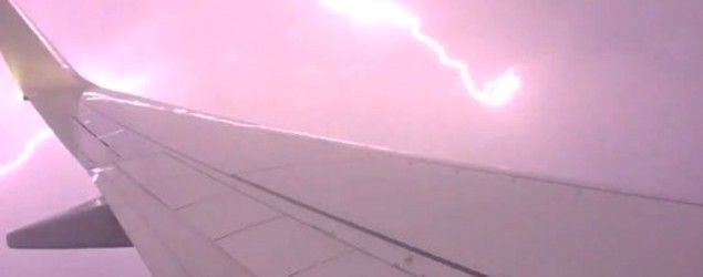 Crazy lightning storm outside plane window captured on camera. (Lee Carseldine/Twitter)