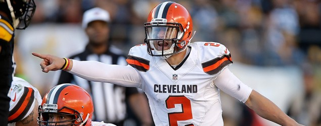 Johnny Manziel plays against Pittsburgh. (Getty Images)