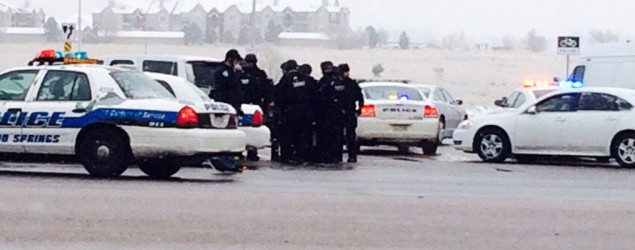 Police respond to reports of an active shooter in Colorado Springs, Colo. (Kody Fisher/FOX21 News via AP)
