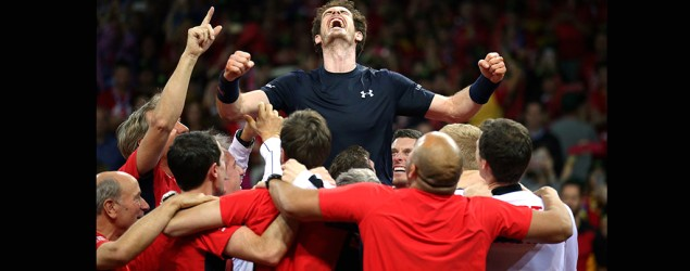 Andy Murray and GB teammates (PA)