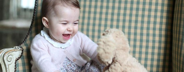 Princess Charlotte with her cuddly toy dog. (AP)