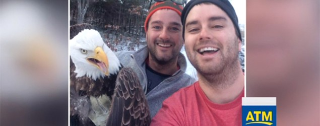 Brothers rescue bald eagle, take epic selfie. (ABC News)