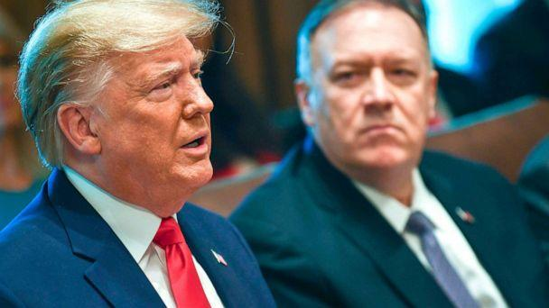 PHOTO: President Donald Trump speaks next to Secretary of State Mike Pompeo during a Cabinet Meeting at the White House, Oct. 21, 2019. (Brendan Smialowski/AFP/Getty Images)