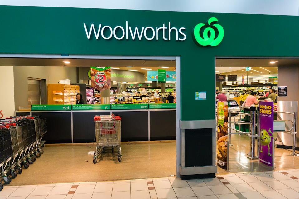 Melbourne, Australia - March 25, 2015: a Woolworths supermarket in suburban Melbourne. Woolworths operates one of the two large national supermarket chains in Australia.