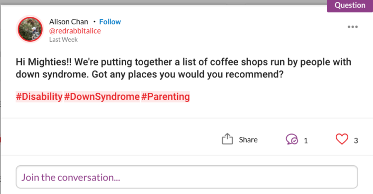 We're putting together a list of coffee shops run by people with down syndrome. Got any places you would you recommend?