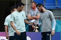 Spain's Sergio Busquets and David De Gea at training in Saint Petersburg on Thursday