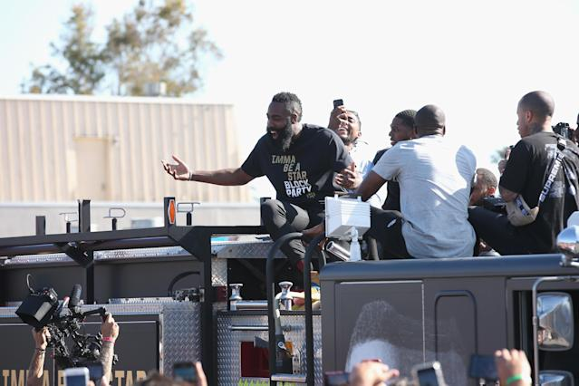"James Harden arrives at ""Imma Be a Star"" Block Party at Audubon Middle School on a firetruck. (Getty Images for Adidas)"