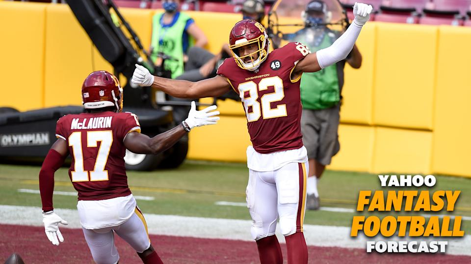 Washington is atop the NFC East with a 1-0 record. Can TE Logan Thomas find the end zone again this week vs. Arizona? (Photo by Greg Fiume/Getty Images)