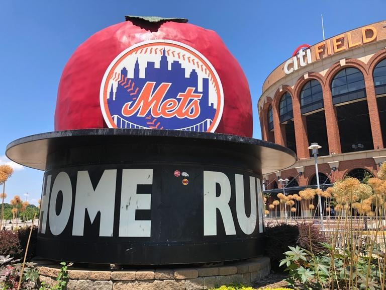 Citi Field outside view with apple