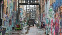 """<p>Open your mind to a new way of viewing art—in an alley. The ever-changing <a href=""""http://www.atlasobscura.com/places/art-alley """" rel=""""nofollow noopener"""" target=""""_blank"""" data-ylk=""""slk:Art Alley in Rapid City"""" class=""""link rapid-noclick-resp"""">Art Alley in Rapid City</a> showcases street art on, well, every surface that can be tagged. And in case you're wondering, yes, it's legal. The alley may be city property, but the walls are privately owned.</p>"""