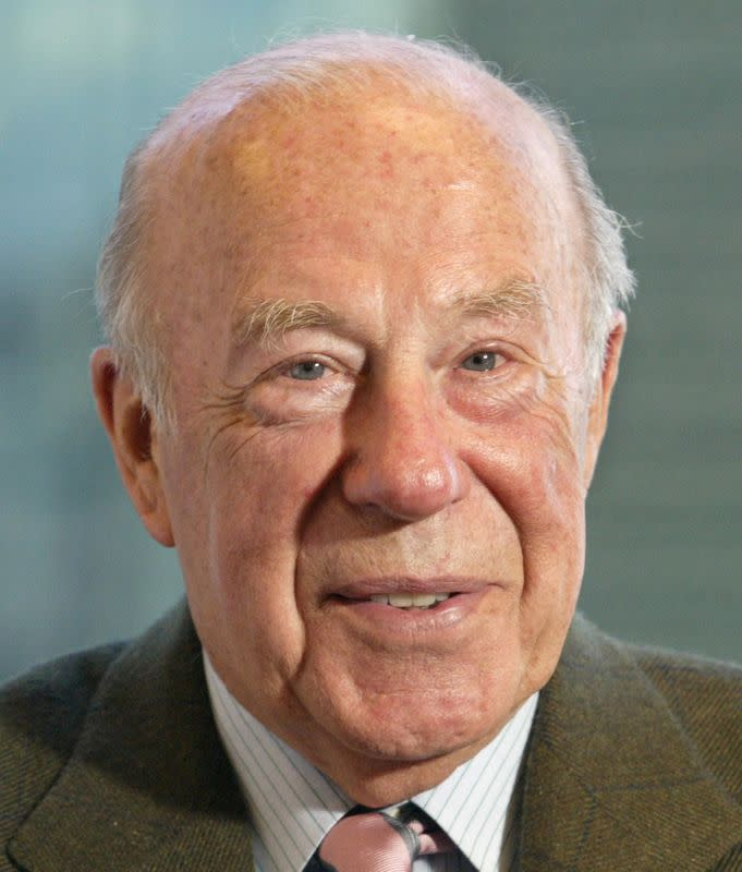 FILE PHOTO: Former U.S. Secretary of State George P. Shultz talks during an interview in San Francisco, April 17..