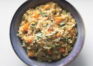 "In this luxurious butternut squash risotto recipe, leeks take the place of the chopped onions that are traditionally used in the beloved Italian rice dish. <a href=""https://www.bonappetit.com/recipe/risotto-with-butternut-squash-leeks-and-basil?mbid=synd_yahoo_rss"" rel=""nofollow noopener"" target=""_blank"" data-ylk=""slk:See recipe."" class=""link rapid-noclick-resp"">See recipe.</a>"