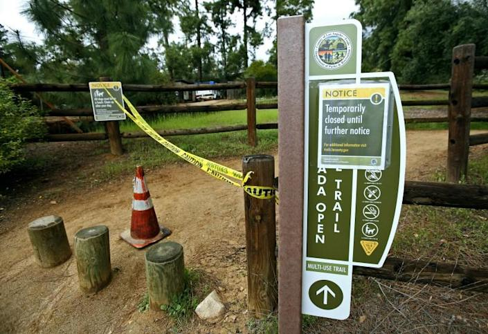 The La Canada Open Space Trail is now closed until further notice, due to the novel coronavirus COVID-19 restrictions, in La Canada Flintridge on Tuesday, March 24, 2020. Some walkers who came upon the closure were in disbelief.