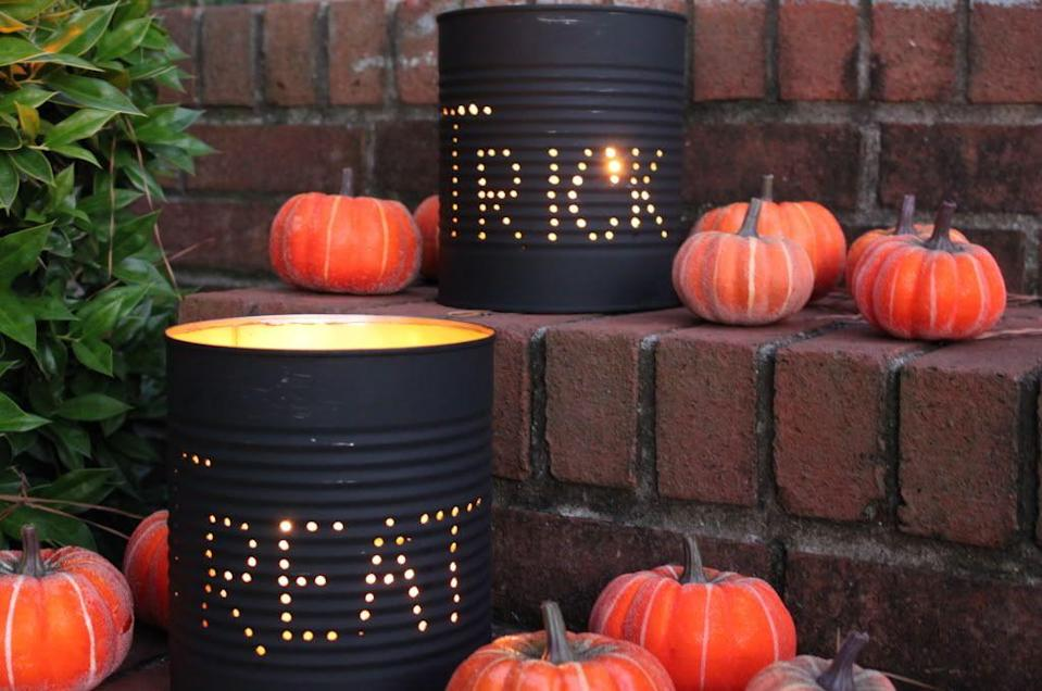 "<p>Halloween decor is literally as easy as recycling some tin cans. Add some mini pumpkins because fall.</p><p>Get the tutorial at <a href=""http://www.jollymom.com/do-it-yourself-halloween-tin-can-luminaries-tutorial/"" rel=""nofollow noopener"" target=""_blank"" data-ylk=""slk:Jolly Mom"" class=""link rapid-noclick-resp"">Jolly Mom</a>.</p>"