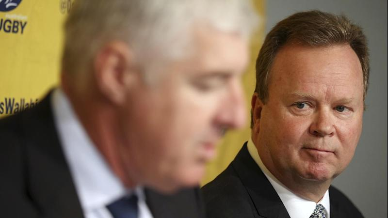 Australian Rugby Union chief executive Bill Pulver (R) will step down once a replacement is found