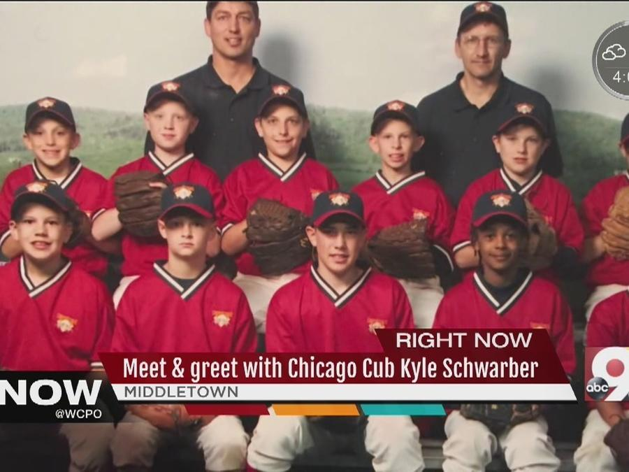 Chicago Cubs left fielder Kyle Schwarber, who helped carry his team to its first World Series win in over a century, drew hundreds of people to a community meet and greet Tuesday.