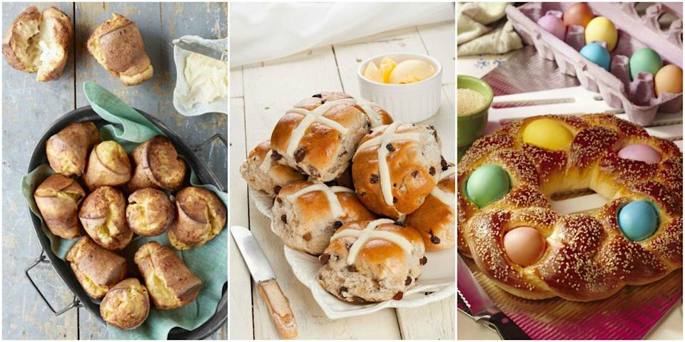 """<p>Easter is a time of celebration and, as with many religious celebrations, there are important family traditions that arise. Maybe your family tradition for <a href=""""https://www.womansday.com/easter/"""" rel=""""nofollow noopener"""" target=""""_blank"""" data-ylk=""""slk:Easter"""" class=""""link rapid-noclick-resp"""">Easter</a> has to do with throwing the best <a href=""""https://www.womansday.com/life/g2892/easter-egg-hunt-ideas/"""" rel=""""nofollow noopener"""" target=""""_blank"""" data-ylk=""""slk:Easter egg hunt"""" class=""""link rapid-noclick-resp"""">Easter egg hunt</a>, or going to the grocery store the day after Easter to stock up on all the <a href=""""https://www.womansday.com/food-recipes/food-drinks/g2201/easter-candy/"""" rel=""""nofollow noopener"""" target=""""_blank"""" data-ylk=""""slk:best candies"""" class=""""link rapid-noclick-resp"""">best candies</a> while they're on sale. Maybe your Easter tradition centers around baking fresh bread. Easter bread has deep roots and a lot of symbolism associated with it, as it's often baked in the shape of a wreath, which symbolizes the crown of thorns Jesus Christ wore at the crucifixion. But Easter bread has come a long way recently, and you can enjoy the tradition of baking Easter bread without being pinned down to any one type of bread. Consider trying something new this year with one of these Easter bread recipes that will be welcome additions to your holiday menu. Also, check out these <a href=""""http://www.womansday.com/food-recipes/food-drinks/g2218/ham-recipes/"""" rel=""""nofollow noopener"""" target=""""_blank"""" data-ylk=""""slk:delectable Easter ham recipes"""" class=""""link rapid-noclick-resp"""">delectable Easter ham recipes</a> and <a href=""""http://www.womansday.com/food-recipes/food-drinks/g2874/easter-dinner-ideas/"""" rel=""""nofollow noopener"""" target=""""_blank"""" data-ylk=""""slk:Easter dinner recipes"""" class=""""link rapid-noclick-resp"""">Easter dinner recipes</a> for more Easter menu ideas.</p>"""
