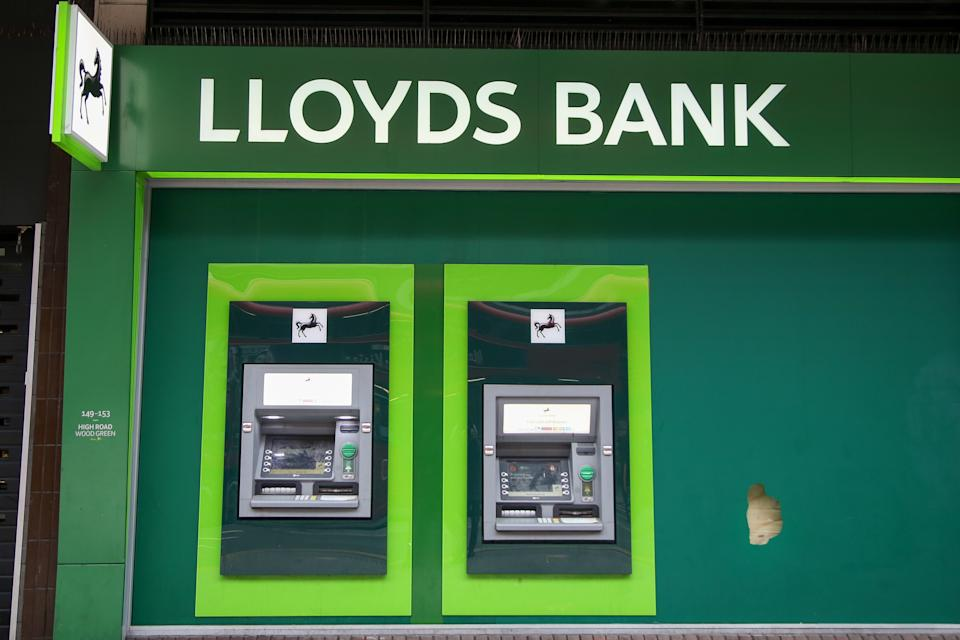 Lloyds ATM machines seen outside one of its branches