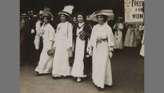Emmeline Pankhurst, Christabel Pankhurst, Mabel Tuke and Emmeline Pethick-Lawrence, 17  June 1911, marching at the head of the Prisoners' Pageant at the Coronation Procession. Digital image copyright Museum of London, via The Conversation