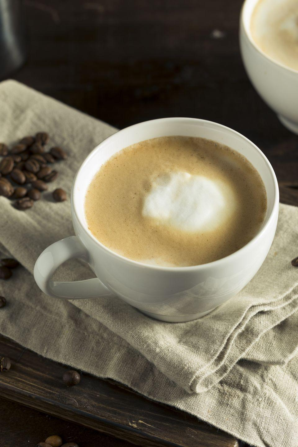 "<p>This espresso drink from Australia (or New Zealand, depending on who you ask) is very creamy in consistency thanks to how the microfoam is blended into the espresso. Although measurements vary, a typical flat white consists of a double shot of espresso with about 4 ounces of milk and little to no foam, making it smaller than a latte.<br></p><p><strong>Pro tip</strong>: Flat whites are great for those who like lattes but don't want as much milk. </p><p><em><a href=""https://www.roastycoffee.com/flat-white/"" rel=""nofollow noopener"" target=""_blank"" data-ylk=""slk:Get the recipe for Flat White from Roasty Coffee »"" class=""link rapid-noclick-resp"">Get the recipe for Flat White from Roasty Coffee » </a></em></p>"