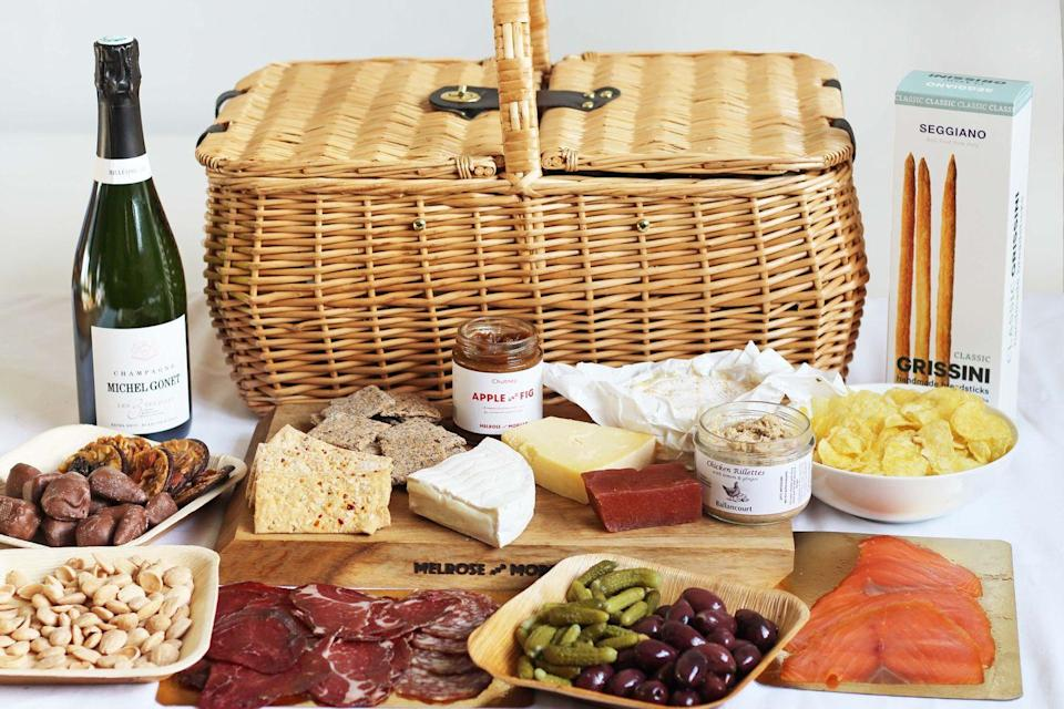 "<p>The new range of picnic hampers from Melrose & Morgan – north London's beloved modern grocer – is here to herald the start of summer. There's the 'Traditional British' (£20 per person) filled with pork sausage rolls, Scotch eggs, bacon and cheddar tarts, crisps, a punnet of fresh strawberries and rich chocolate brownies, or the 'Heath & Hill' (from £30 per person) – think summer salads, empanadas, seasonal frittatas, smashed avocado, hummus and chocolate Florentines, perfect to enjoy in its two namesake parks. Both hampers showcase the very best produce from the finest, small-scale, artisan producers which makes eating them even more satisfying. Available to purchase in-store or online, for delivery across London and the UK.</p><p><a href=""http://www.melroseandmorgan.com"" rel=""nofollow noopener"" target=""_blank"" data-ylk=""slk:www.melroseandmorgan.com"" class=""link rapid-noclick-resp"">www.melroseandmorgan.com</a></p>"