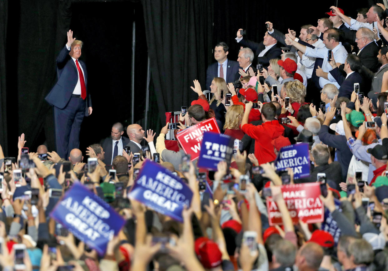 President Trump waves to supporters after being introduced at a campaign rally in Cape Girardeau, Mo., on Nov. 5, 2018. (Photo: Jeff Roberson/AP)