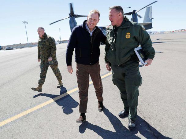 PHOTO: Acting Secretary of Defense Patrick Shanahan, center, talks with El Paso Sector Chief Aaron Hull, right, at El Paso International airport after doing a Osprey aircraft tour of the U.S.-Mexico border, Feb. 23, 2019. (blo Martinez Monsivais/Pool via Reuters)