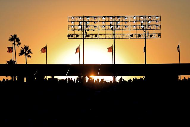 <p>The sun sets behind Dodger Stadium during game two of the 2017 World Series between the Houston Astros and the Los Angeles Dodgers on October 25, 2017 in Los Angeles, California. (Photo by Sean M. Haffey/Getty Images) </p>