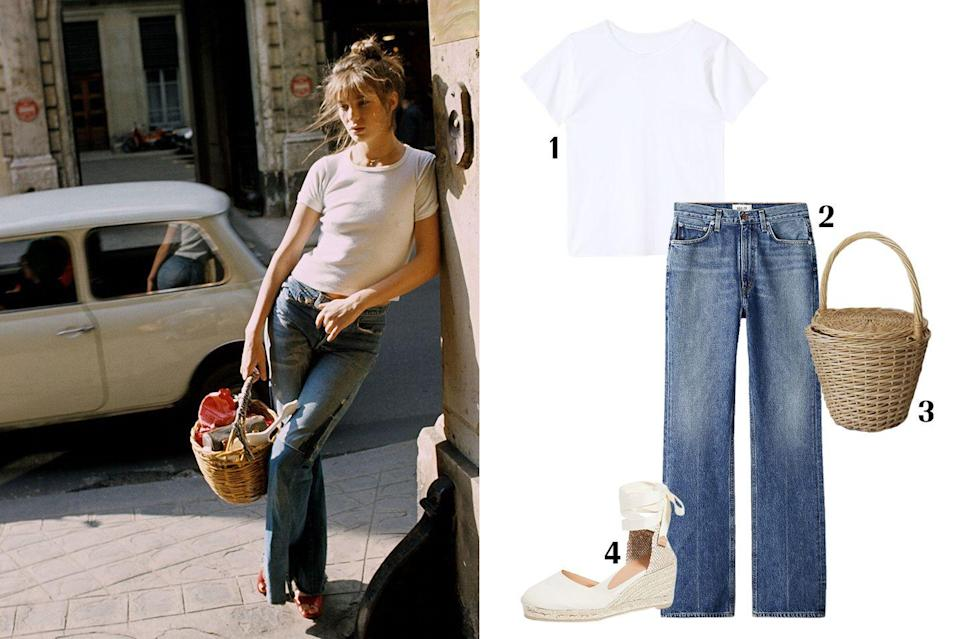 """<p>Jane Birkin, as in <em>the Birkin Bag</em><em>, </em>is the epitome of French-girl fashion. One cannot discuss Jane Birkin's style legacy without mentioning her most iconic accessory: the basket bag. Designers like Jacquemus and Loewe have paid homage to the iconic piece. All you need are a pair of flare jeans, espadrilles, a basket bag, and a white t-shirt to recreate her iconic look. </p><p> <strong> 1. </strong><em><a href=""""https://www.prettiesvenice.com/shop/the-og-baby-tee"""" rel=""""nofollow noopener"""" target=""""_blank"""" data-ylk=""""slk:Pretties Baby Tee"""" class=""""link rapid-noclick-resp"""">Pretties Baby Tee</a>, $55; </em><strong>2. </strong><em><a href=""""https://www.aritzia.com/us/en/product/vintage-flare-absolute/78223.html"""" rel=""""nofollow noopener"""" target=""""_blank"""" data-ylk=""""slk:AGOLDE jeans"""" class=""""link rapid-noclick-resp"""">AGOLDE jeans</a>, $188</em><em>; </em><strong>3. </strong><em><a href=""""https://www.etsy.com/listing/499362852/jane-birkin-basketball-medium-basketball?ga_order=most_relevant&ga_search_type=all&ga_view_type=gallery&ga_search_query=basket+bag&ref=sr_gallery-1-20&organic_search_click=1&cns=1"""" rel=""""nofollow noopener"""" target=""""_blank"""" data-ylk=""""slk:Etsy basket bag"""" class=""""link rapid-noclick-resp"""">Etsy basket bag</a>, $50; </em><strong>4. </strong><em><a href=""""https://www.shopbop.com/carina-wedge-espadrilles-castaner/vp/v=1/1579073044.htm?gclid=Cj0KCQjw6PD3BRDPARIsAN8pHuFK4NGhYkxgmBKek7suwJ8DOTwQuKQItPInM_EDHBkiWyk9vq-5iTUaAmzuEALw_wcB¤cyCode=USD&extid=SE_froogle_SC_usa&cvosrc=cse.google.CASTN30163&cvo_campaign=SB_Google_USD&ef_id=Cj0KCQjw6PD3BRDPARIsAN8pHuFK4NGhYkxgmBKek7suwJ8DOTwQuKQItPInM_EDHBkiWyk9vq-5iTUaAmzuEALw_wcB:G:s&s_kwcid=AL!3510!3!198578826883!!!g!439809913850!"""" rel=""""nofollow noopener"""" target=""""_blank"""" data-ylk=""""slk:Castaner espadrilles"""" class=""""link rapid-noclick-resp"""">Castaner espadrilles</a>, $135. </em></p>"""