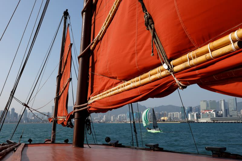 """Sailing on traditional wooden tourist junk boat """"Dukling"""" in Hong Kong"""