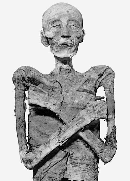 The mummy of Merneptah was encased in a series of four sarcophagi, set one within the other. After his tomb was robbed, more than 3,000 years ago, he was reburied elsewhere and his two outer sarcophagi boxes were broken up.