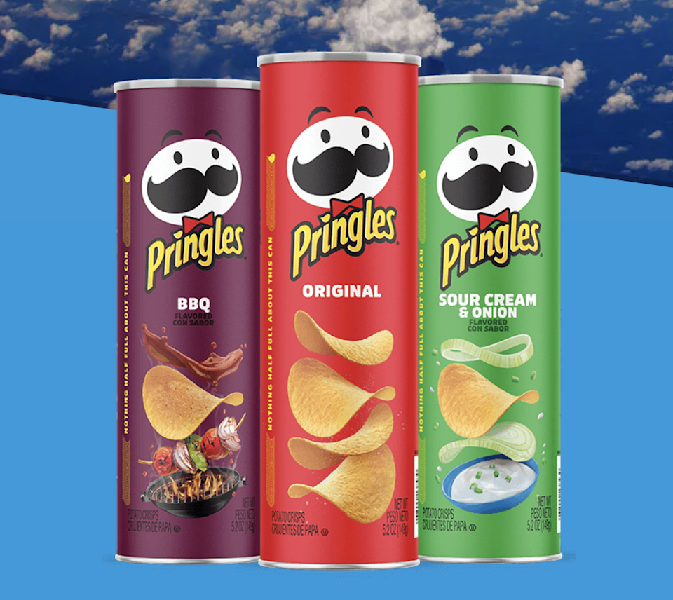 Three canisters of Pringles