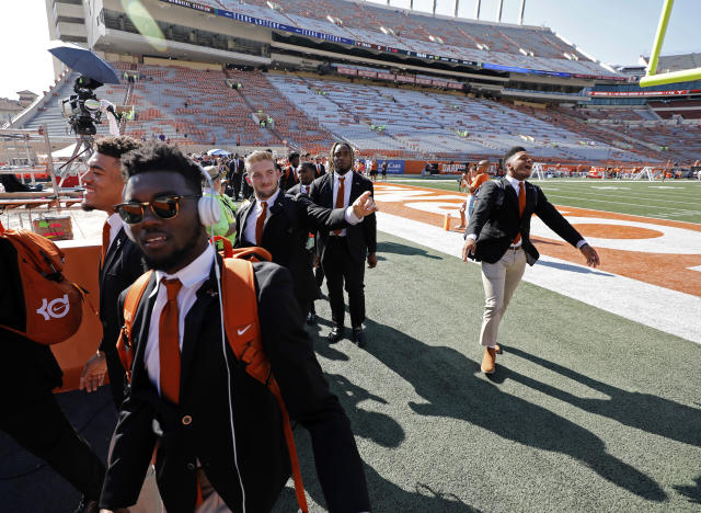 Texas Longhorns football players enter Darrell K Royal-Texas Memorial Stadium before the game with the LSU Tigers, Saturday Sept. 7, 2019 at in Austin, Tx. ( Photo by Edward A. Ornelas )