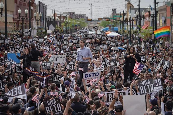 """""""This is our moment of truth, and we cannot be found wanting,"""" former Texas Congressman Beto O'Rourke told an enthusiastic crowd (AFP Photo/PAUL RATJE)"""