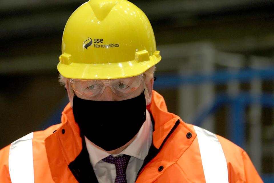 Prime Minister Boris Johnson during a visit to the National Renewable Energy Centre in Blyth, Northumberland.
