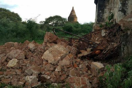 Rubble is seen after an earthquake in Bagan, Myanmar August 24, 2016. REUTERS/Stringer