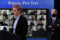 U.S. Women's National Soccer Team player Rapinoe delivers remarks as she joins U.S. President Biden for an Equal Pay for women proclamation at the White House in Washington
