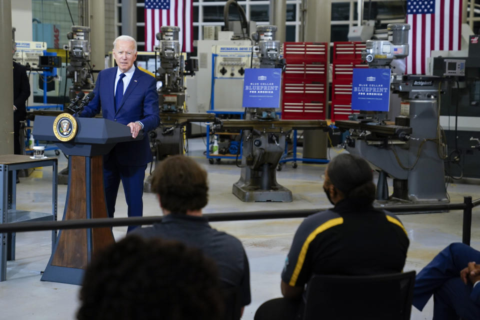 President Joe Biden delivers remarks on the economy at the Cuyahoga Community College Metropolitan Campus, Thursday, May 27, 2021, in Cleveland. (AP Photo/Evan Vucci)