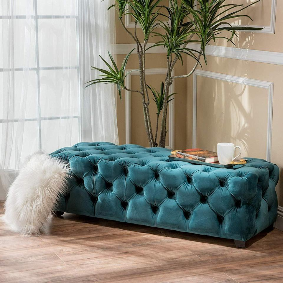 <p>Fill any empty space with this luxe-looking <span>Christopher Knight Home Piper Velvet Bench</span> ($193). It will enhance any corner with texture, color, and style.</p>