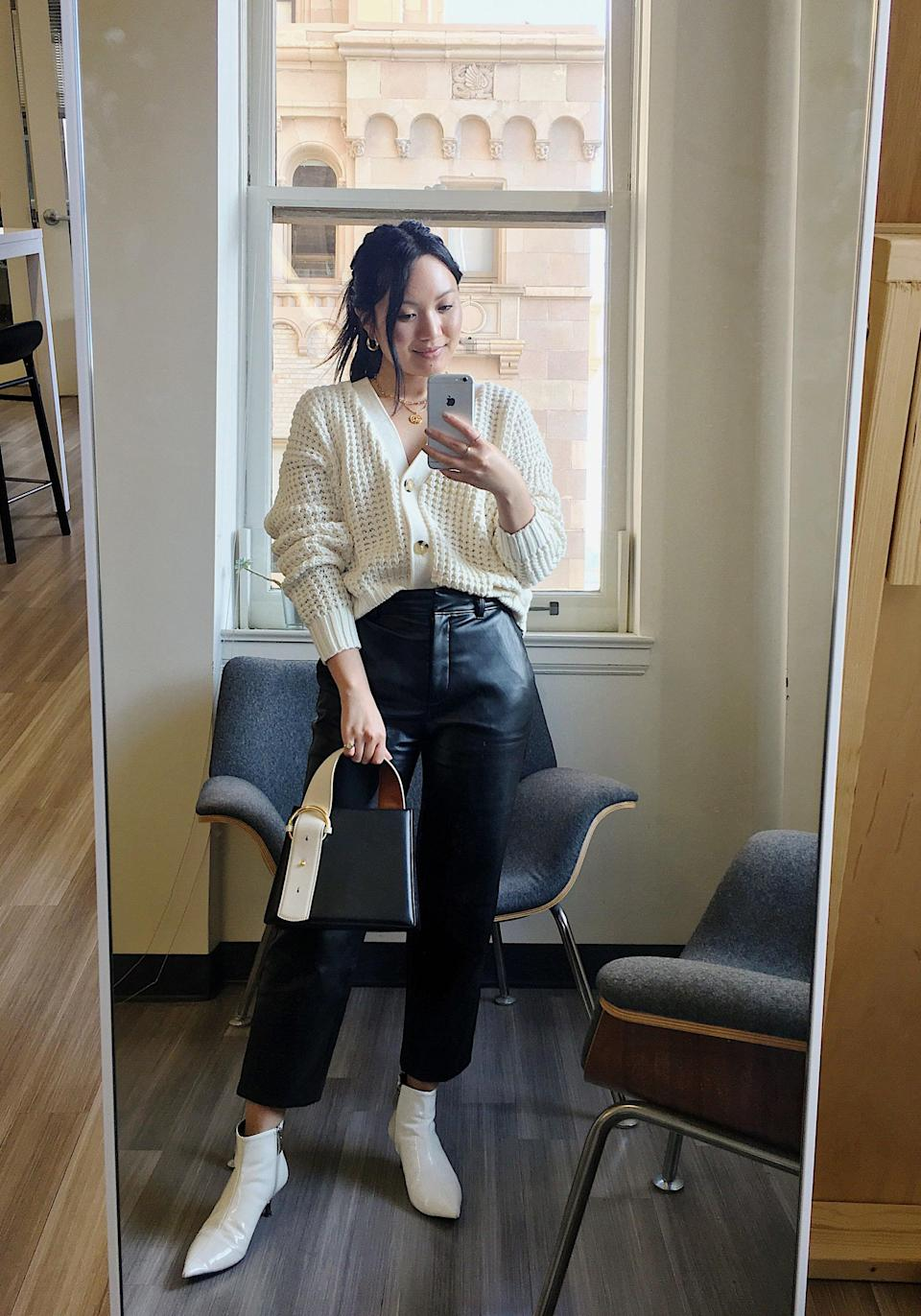 """<p>""""This cardigan is everything I want in a Winter piece; it's cozy, comfy, and versatile! I love wearing it buttoned as a top with sleek leather trousers and accessories for the office, but can also see it thrown over a slinky slip dress and tall suede boots for a nighttime look."""" - Stephanie Nguyen, native style editor</p>"""
