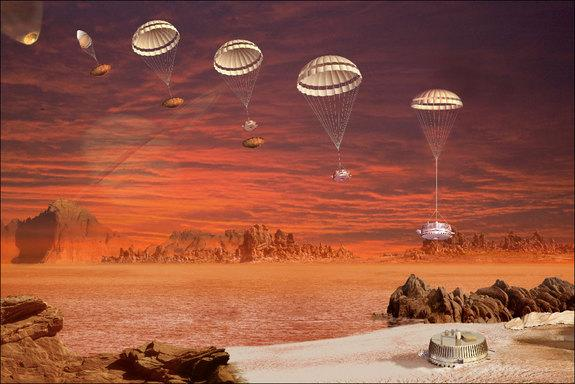 This image is an artist's impression of the descent and landing sequence followed by ESA's Huygens probe that landed on Titan. The Jan. 14, 2005 landing was the culmination of a 22-year process of planning, organizing and cooperation between ES