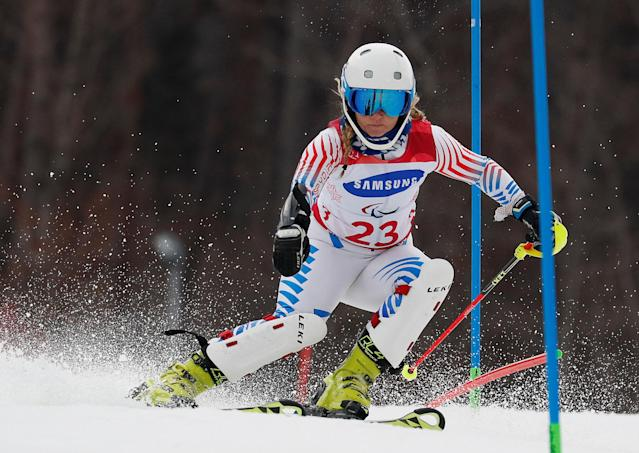 Alpine Skiing - Pyeongchang 2018 Winter Paralympics - Women's Slalom - Standing - Run 1 - Jeongseon Alpine Centre - Jeongseon, South Korea - March 18, 2018 - Ally Kunkel of the U.S. REUTERS/Paul Hanna