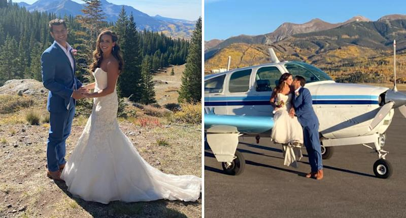 Photos show Costas Sivyllis and Lindsey Vogelaar on their wedding day.