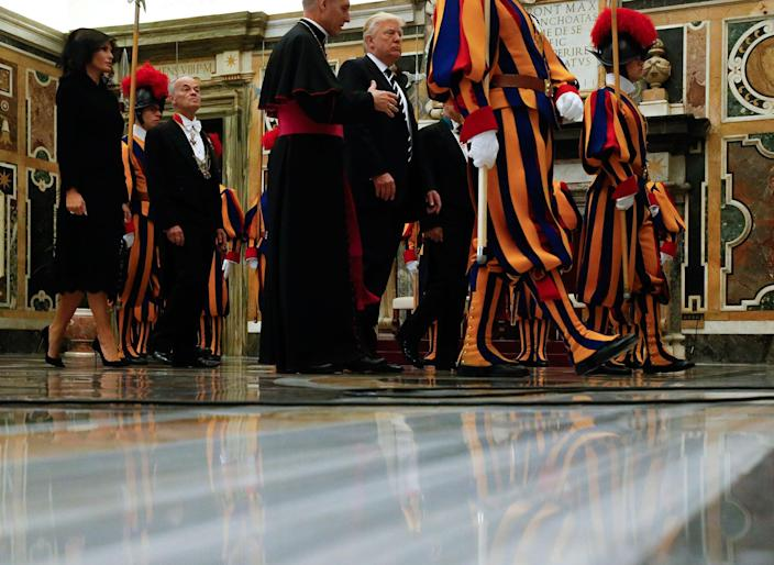 <p>President Donald Trump and first lady Melania arrive to meet Pope Francis on the occasion of their private audience, at the Vatican, Wednesday, May 24, 2017. (Photo: Jonathan Ernst/Pool Photo via AP) </p>