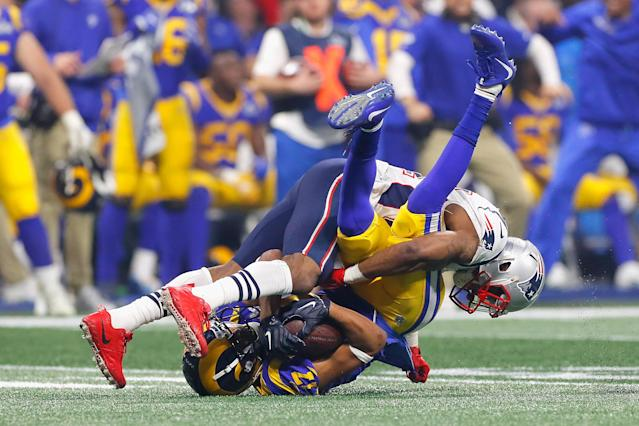 <p>Robert Woods #17 of the Los Angeles Rams makes a catch against the New England Patriots in the second half during Super Bowl LIII at Mercedes-Benz Stadium on February 3, 2019 in Atlanta, Georgia. (Photo by Kevin C. Cox/Getty Images) </p>