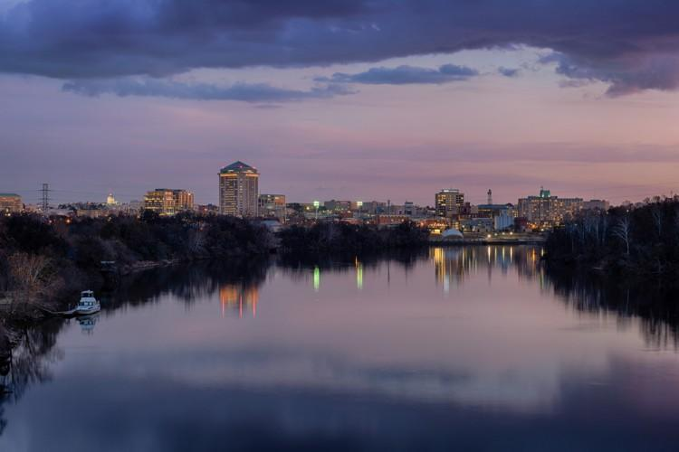 alabama, downtown, nobody, capitol, river, montgomery, horizontal, trees, night, outside, dusk, twilight, clouds, pink, purple, reflection, blue, outdoors, buildings, sky, water, office, banks, cityscape, capital